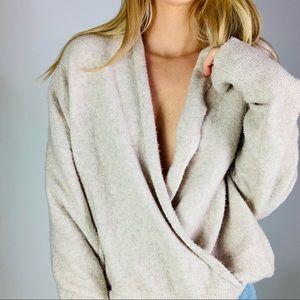 Michael Stars deep v faux wrap fuzzy cozy sweater